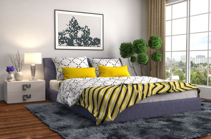 Textilien Im Schlafzimmer In Akzentfarbe Gelb