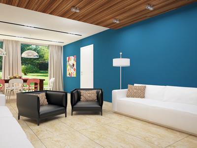 Kontrast: Weiße Möbel Und Blaue Wandfarbe Design
