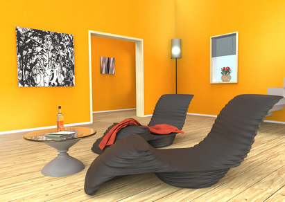 Wandfarbe In Gelb Orange