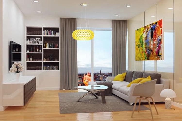 Einrichtungsbeispiel Wohnzimmer In Gelb Und Grau