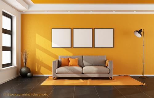 Wohnzimmer Orange Kombiniert Mit Grauen Fliesen